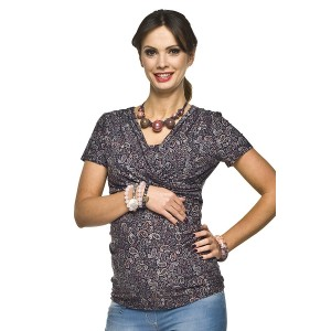 VEĽKOSŤ S Pohodlné tehotenské tričko sivej farby