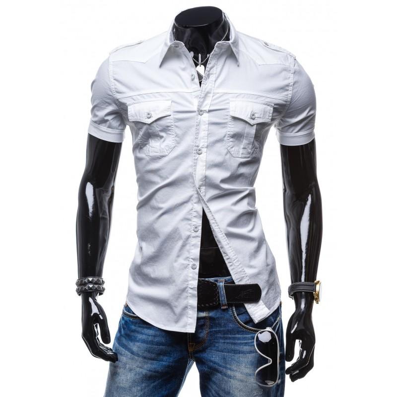 07cb2bf04b7b Predchádzajúci. Biela pánska košeľa s krátkym rukávom a vreckami na každú  postavu ...