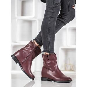 Zimné dámske topánky v bordovej farbe na nízkom podpätku