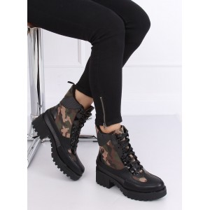 Zimné dámske topánky na viazanie v army motíve