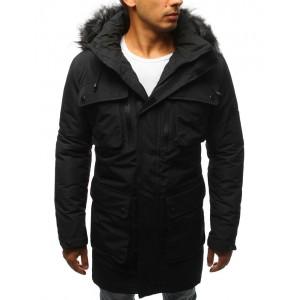 Pánska predĺžená zimná bunda v čiernej farbe