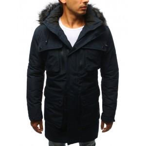 Dlhá bunda na zimu pre pánov v modrej farbe