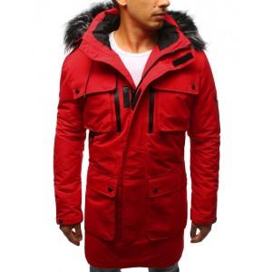 Moderná pánska zimná bunda s kožušinou v červenej farbe