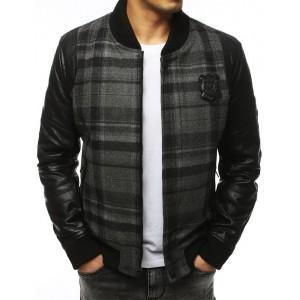 Štýlová pánska zimná bunda v sivej farbe bez kapucne