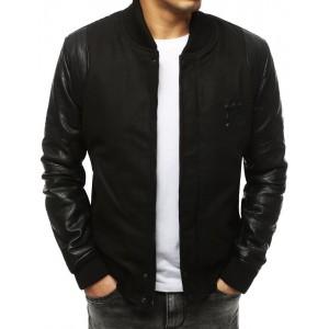 Pánska zimná bomber bunda v čiernej farbe s koženými rukávmi