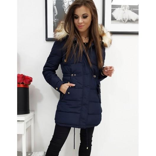 Moderná dámska zimná bunda s kožušinou v modrej farbe