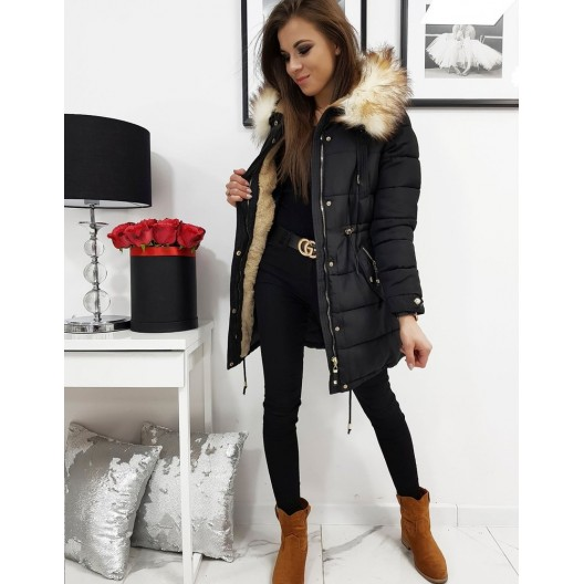 Prešívaná dámska zimná bunda v čiernej farbe
