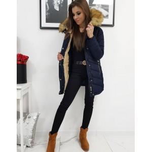 Kvalitná dámska zimná bunda v modrej farbe