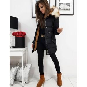 Štýlová dámska zimná bunda v čiernej farbe s odnímateľnou kožušinou