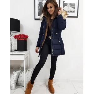 Prešívaná dámska bunda na zimu v modrej farbe s kožušinou
