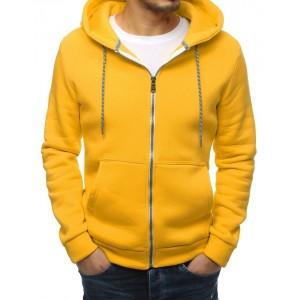 Moderná pánska mikina v žltej farbe s kapucňou
