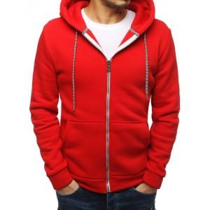 Pánska mikina na zips v červenej farbe