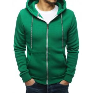 Lacná pánska mikina v zelenej farbe na zips