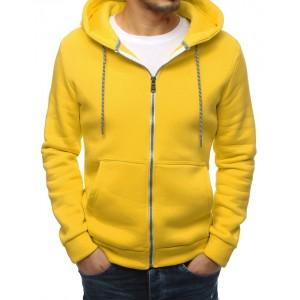 Lacná pánska mikina v žltej farbe s kapucňou