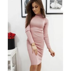 Krásne dámske midi ružové šaty rolákového strihu