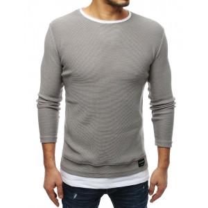 Predĺžený pánsky sveter v sivej farby