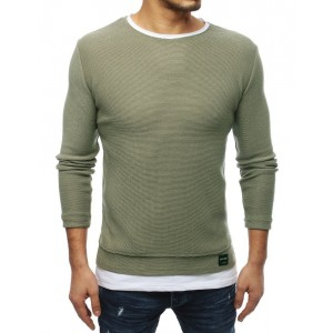 Slim pánsky sveter v zelenej farbe