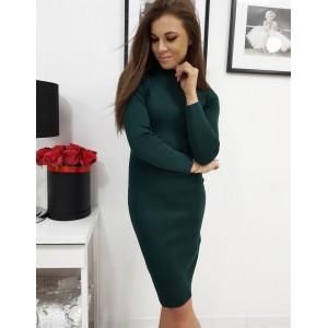 Trendy dámske úpletové šaty smarogdovo zelené