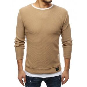 Hnedý sveter pre pánov bez kapucne
