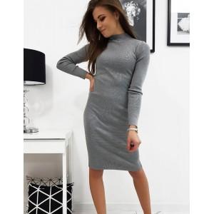 Originálne dámske úpletové šaty nad kolená v sivej farbe