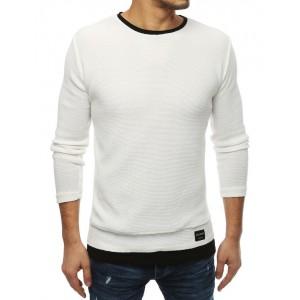Biely pánsky sveter bez kapucne