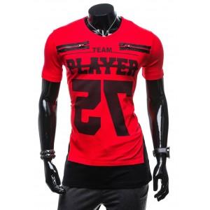Červené pánske tričko s čiernou podtlačou PLAYER 75