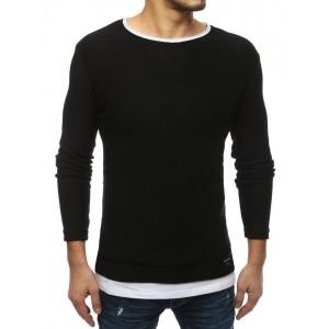 Moderný pánsky slim sveter v čiernej farbe