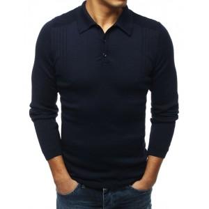 Modrý pánska sveter s golierom