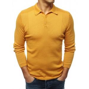 Žltý pánsky sveter s klasickým golierom