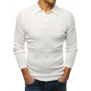 Moderný pánsky sveter v bielej farbe s golierom