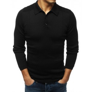 Pánsky sveter s dlhým rukávom v čiernej farbe