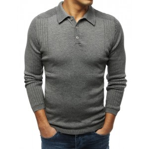 Tmavosivý pánsky sveter s golierom