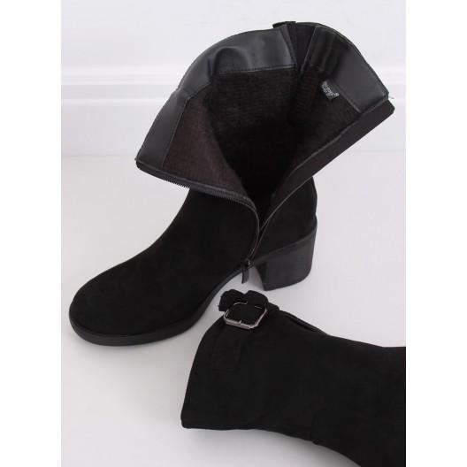 Štýlové dámske kotníkové topánky na zimu čierne