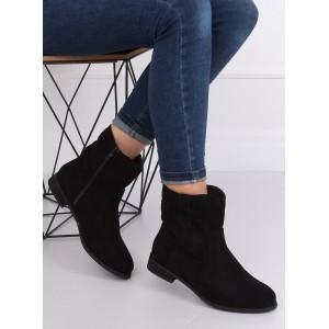 Čierne kotníkové topánky na zips v čiernej farbe