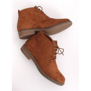 Dámske hnedé topánky na viazanie