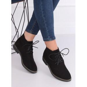 Čierne dámske zimné topánky na viazanie
