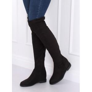 Dámske čižmy nad kolená v čiernej farbe