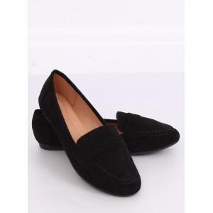 Semišové dámske čierne mokasíny v minimalistickom štýle