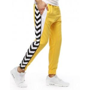 Športové pánske tepláky v žltej farbe