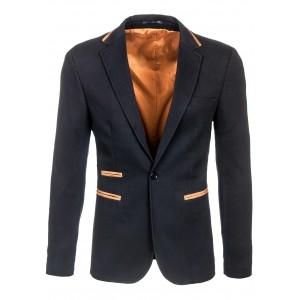 Čierne pánske sako s hnedým lemovaním okolo vreciek a goliera