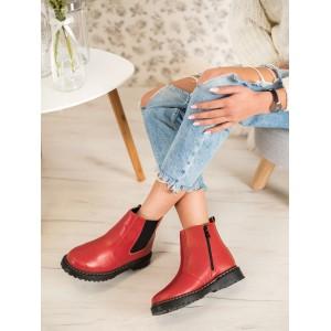 Kotníkové dámske topánky na platforme v červenej farbe