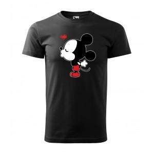 Čierne valentínske tričko s krátkym rukávom pre pánov