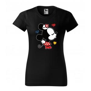 Dámske tričko na valentína čiernej farby