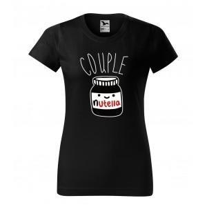 Čierne dámske tričko s valentínskym motívom pre páry