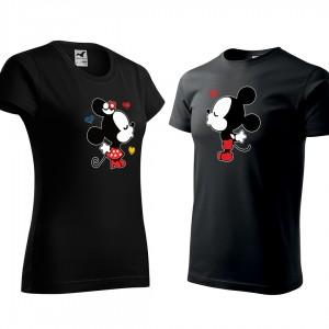 Valentínsky set tričiek v čiernej farbe mickey a minnie