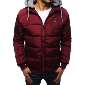 Pánska prešívaná zimná bunda v červenej farbe