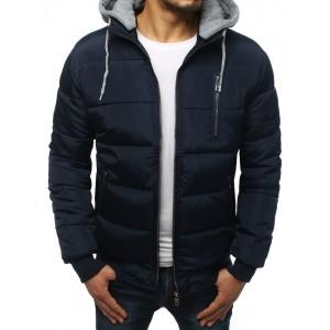 Modrá pánska zimná bunda s odnímateľnou kapucňou