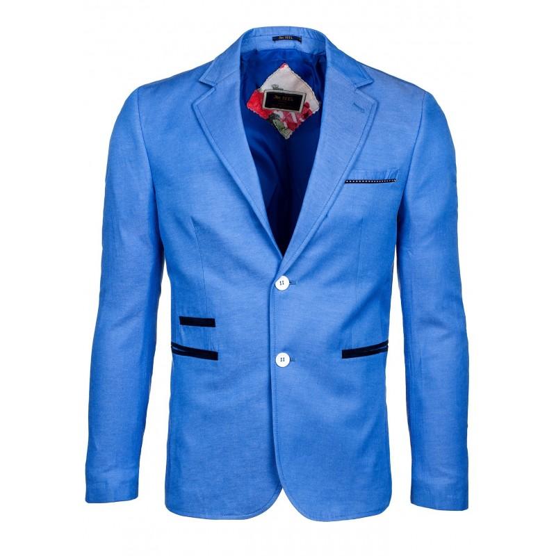 5a60a1cb4000 Moderné pánske sako na každodenné nosenie modrej farby - fashionday.eu
