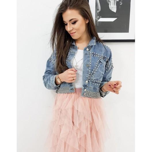 Vybíjaná krátka riflová bunda pre dámy