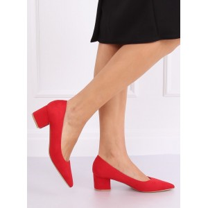 Červené dámske semišové lodičky na nízkom podpätku